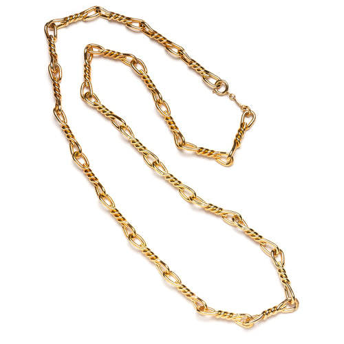 1970s Dior Gold Twisted Chain Link Necklace