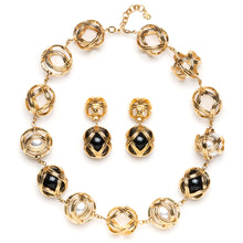 Load image into Gallery viewer, 1980s Dior Gold and Black Ball Demi Parure