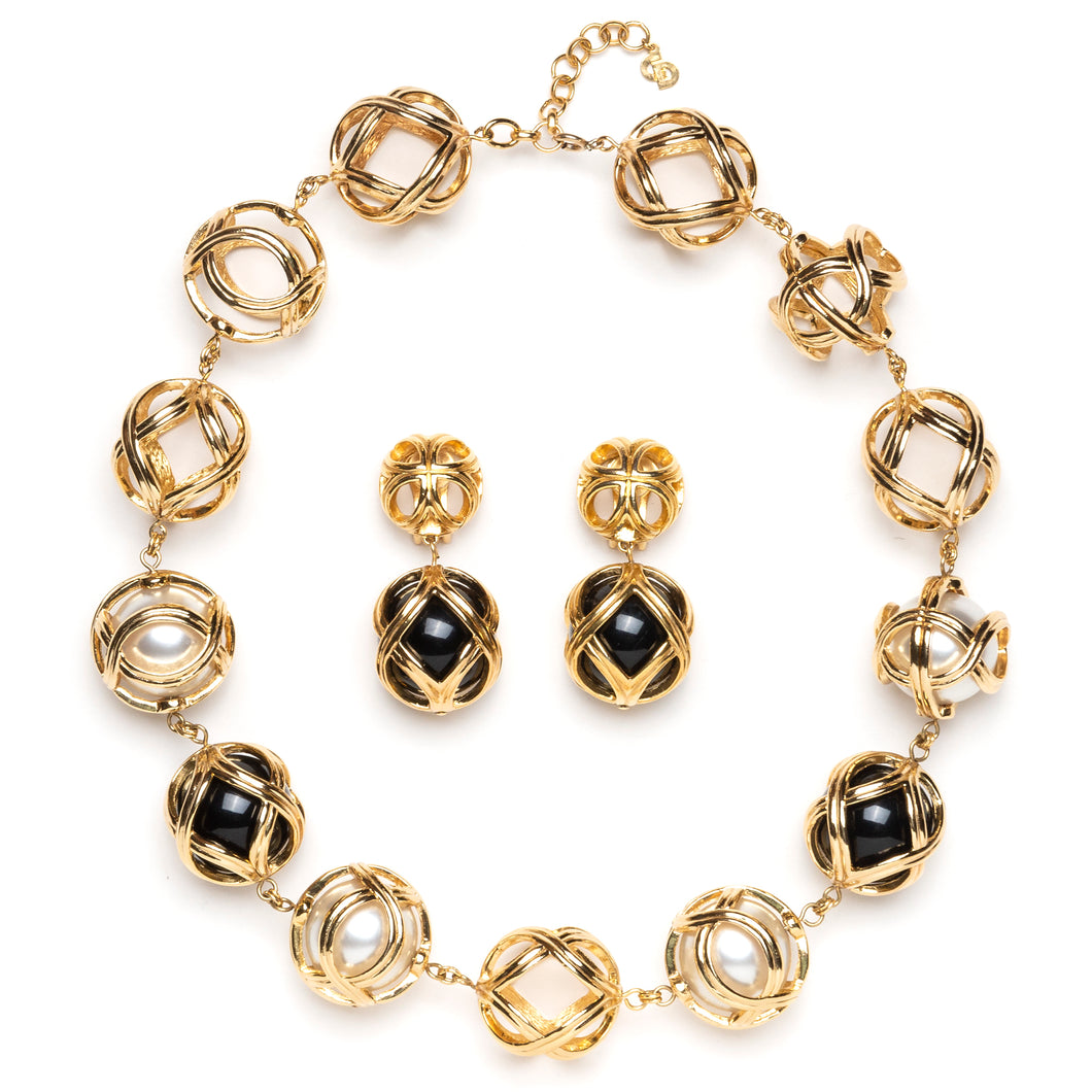 1980s Dior Gold and Black Ball Demi Parure