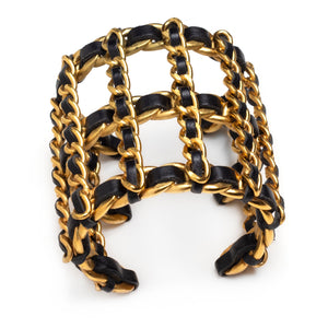 1990s Chanel Gold and Leather Chain Cuff