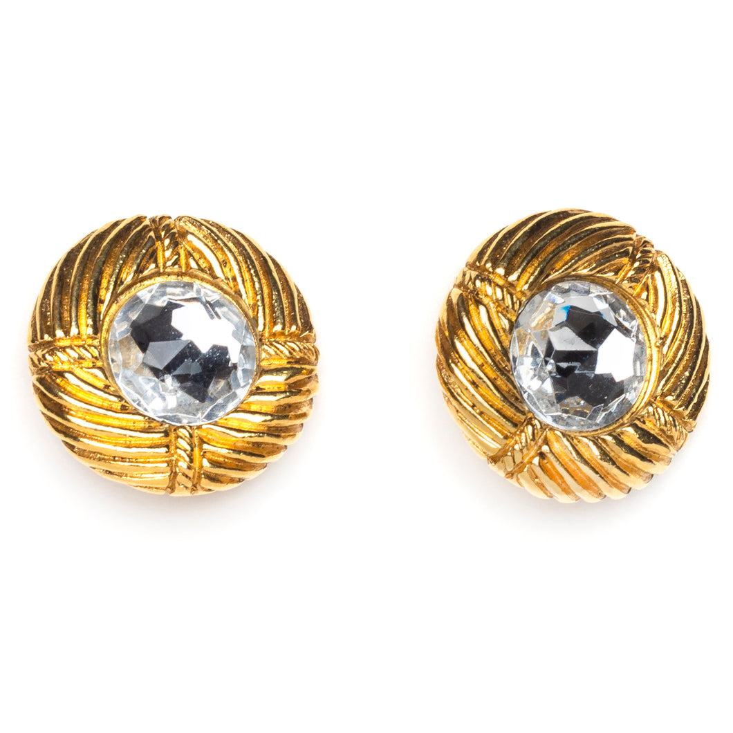 1980s Chanel Gold and Diamanté Button Earrings