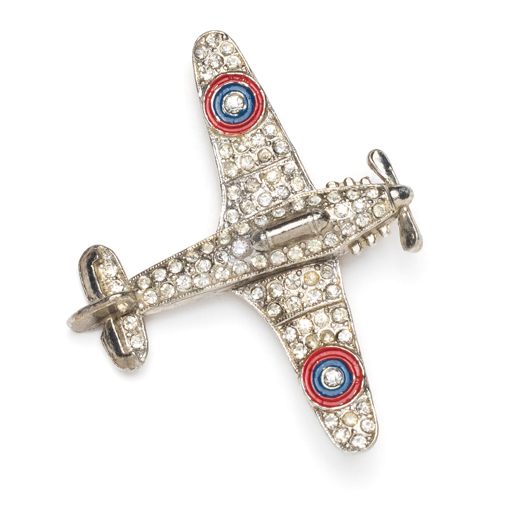 Silver and Diamanté Airplane Pin