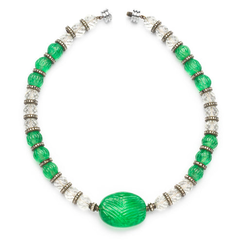 Green French Barrel Stone Necklace