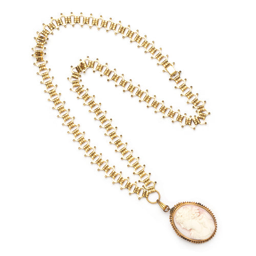 Cameo Pendant Gold Necklace