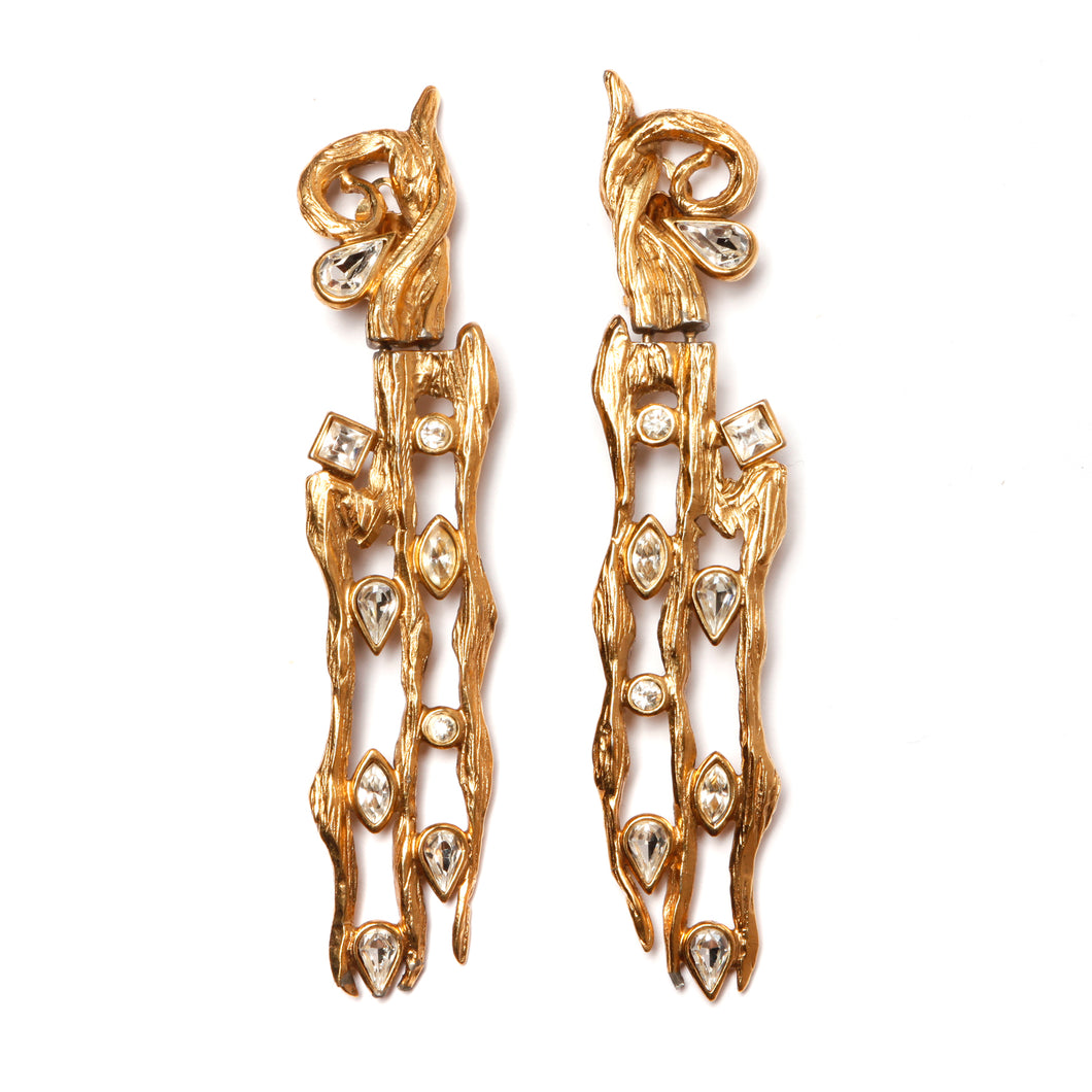 Gold and Diamante Brutalist Earrings