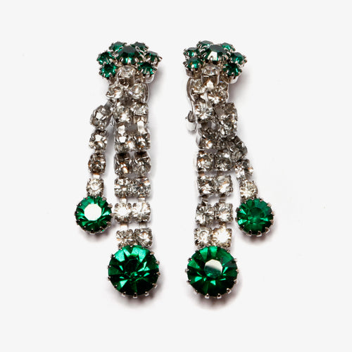 Emerald and Diamante Drop Earrings