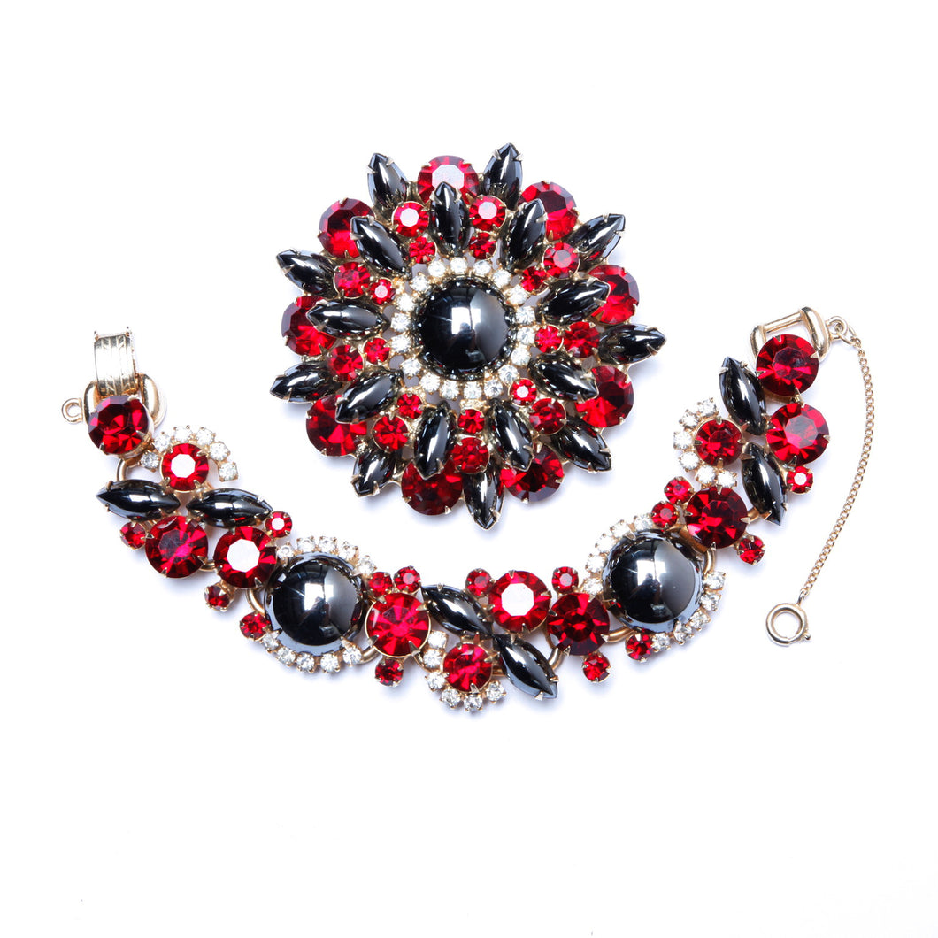 Juliana Hematite and Red Demi Parure