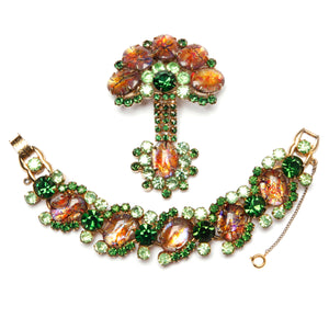 Juliana Style Green and Orange Iridescent Crackled Stone Set