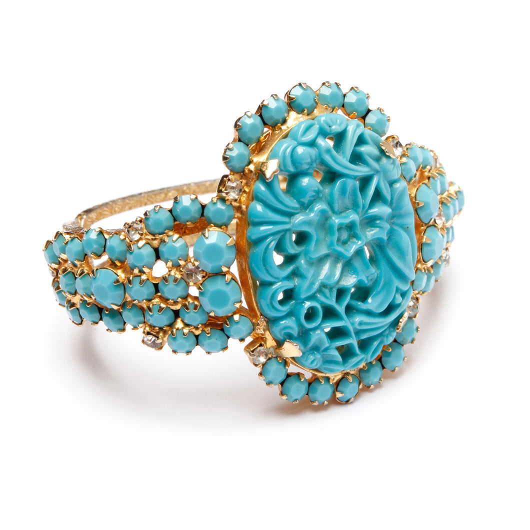 Juliana Turquoise Carved Clamper
