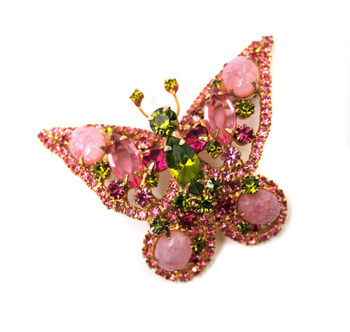 Juliana  Pink and Green Butterfly Brooch