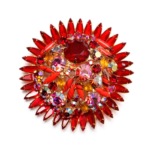 Juliana Red and Coral Brooch