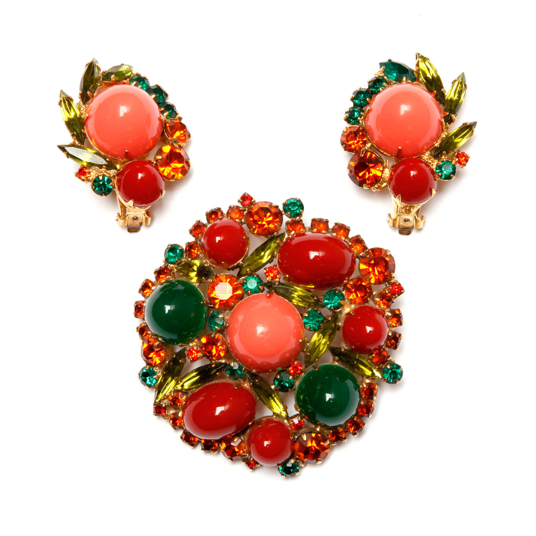 Juliana Coral, Carnelian and Green Cabochon Parure