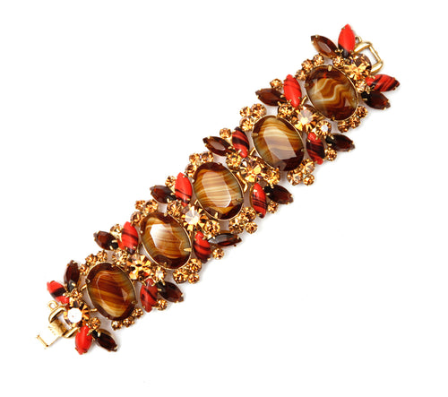 Juliana Style Tiger's Eye and Red Bracelet