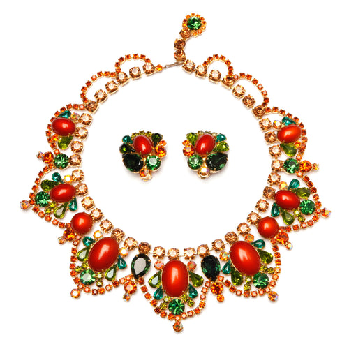 Juliana Green with Burnt  Orange Scalloped  Cabochons parure