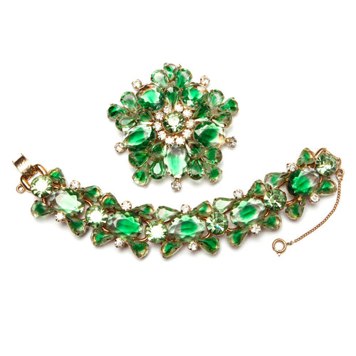 Juliana Translucent Green and Diamanté Parure