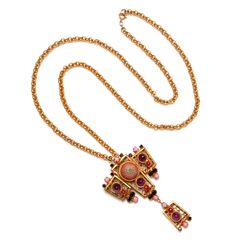 Juliana Gold Chain Moroccan Red Mosiac Pendant Necklace