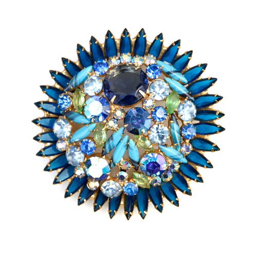 Juliana Multi Shape Sparkly Blue Brooch