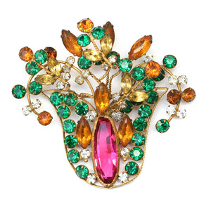 Pink, Green and Amber Wire Brooch