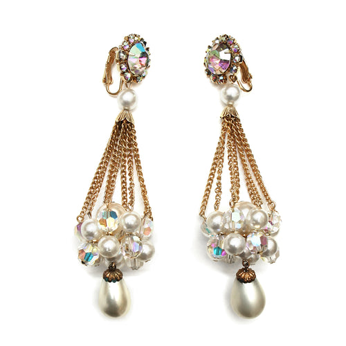 1960 Crystal and Pearl Drop Earrings