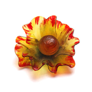 1950s Yellow Resin Flower Pin