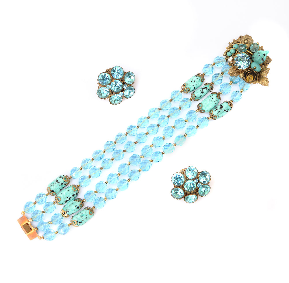 1950 Turquoise Bead and Rhinestone Set