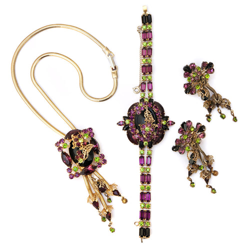 1950 Purple and Green Three Dimensional Floral Set
