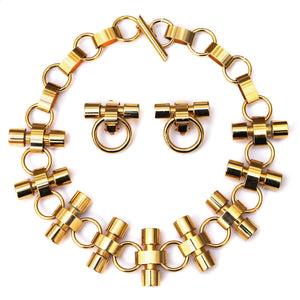 Charles Jourdan Gold Tone Linked Chain and Bar Set