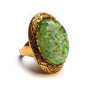 1960 Speckled Green Stone Ring
