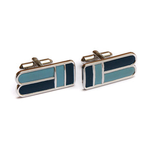 Speidel Long Blue Enamel Cufflinks