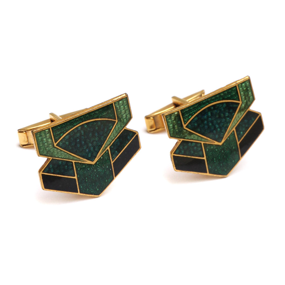 1920 Green Enamel Cufflinks