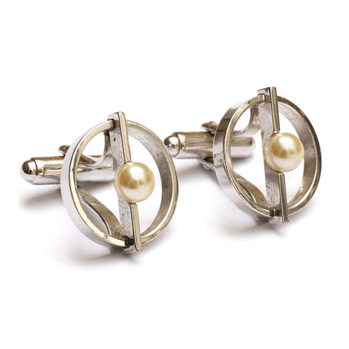 1950s Pearl and Metal Cufflinks