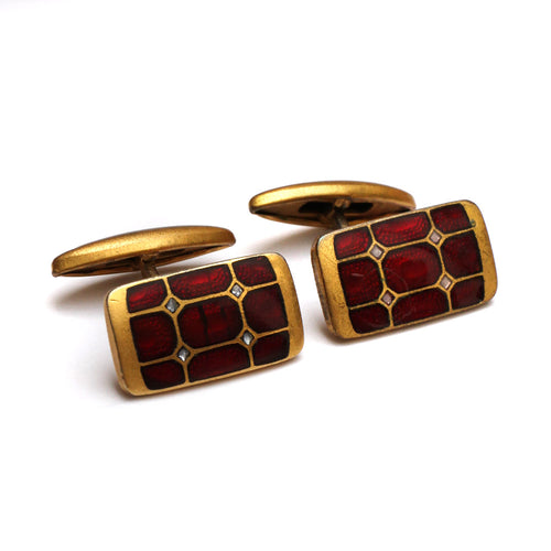 1960s Patterned Red Enamel Cufflinks