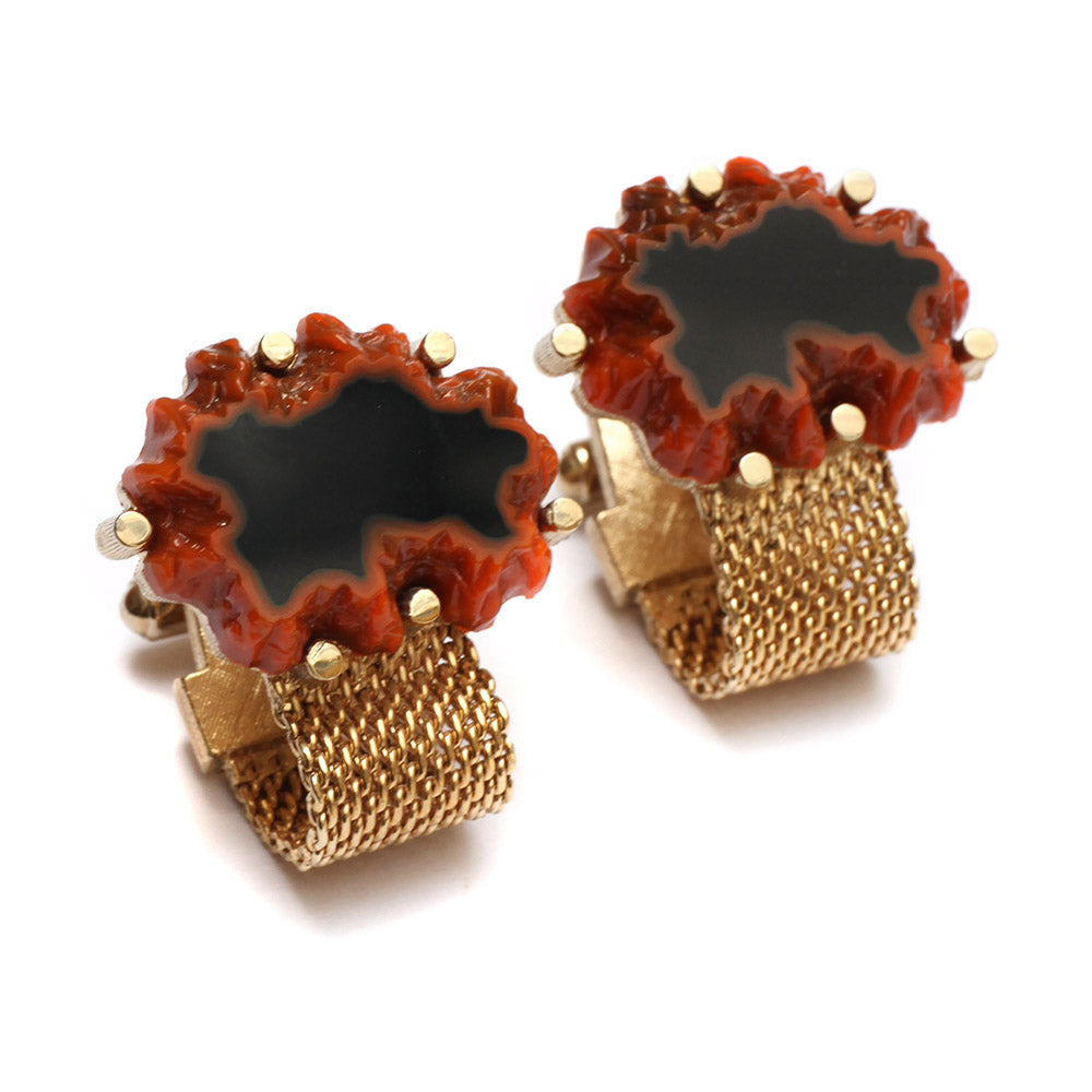 Hickok Orange and Black Glass Cufflinks