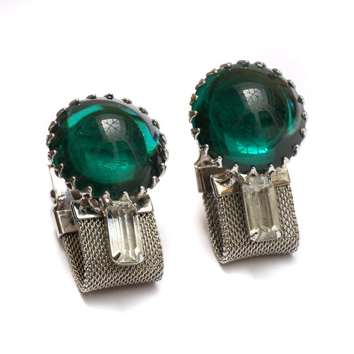 Sorrell Large Deep Green Stone Cufflinks