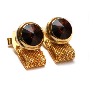 1960 Domed Amber Stone Cufflinks
