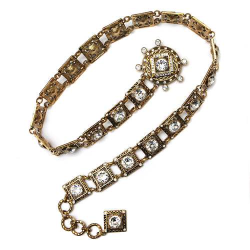 Dior Gold Tone Diamante Square Link Belt