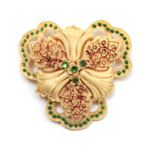 1940 Carved Celluloid Flora Pin