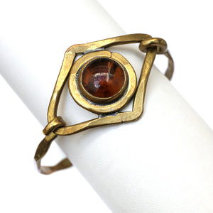 1960s Rafael Hammered Bracelet with Amber Stone