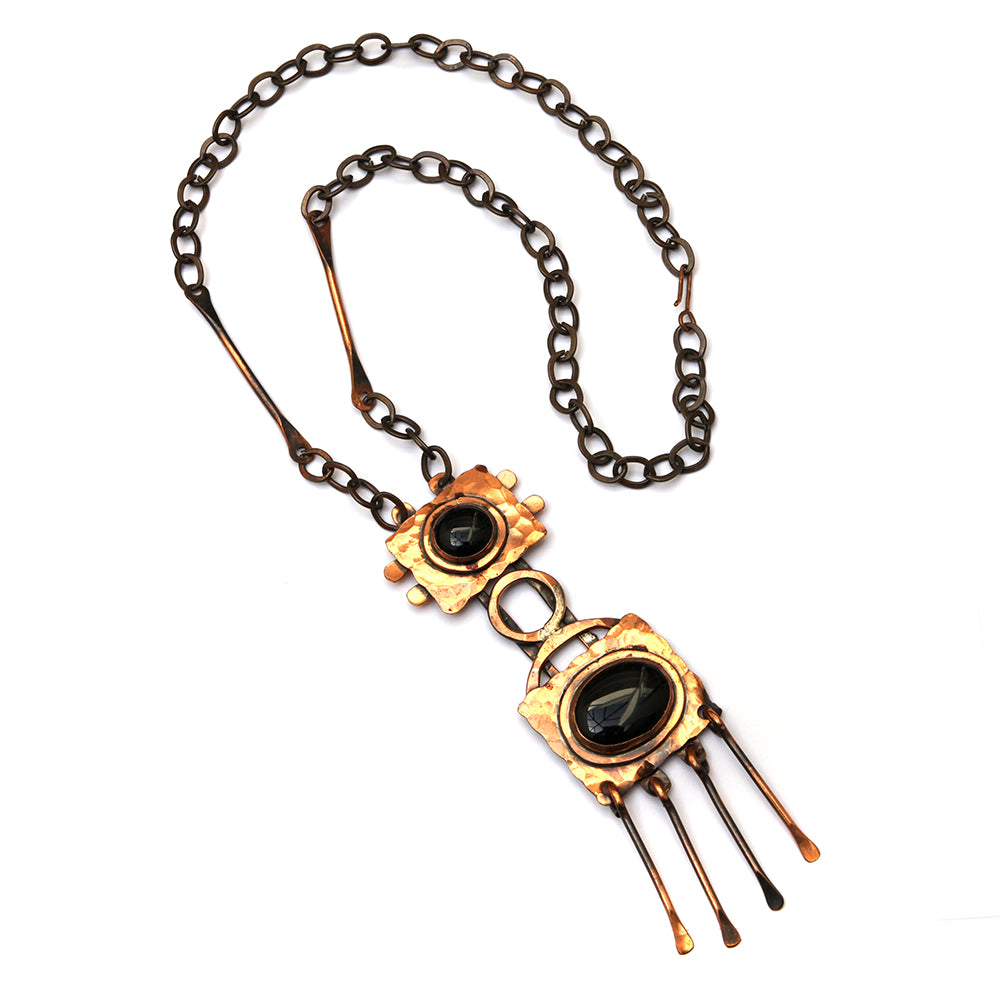 Rafael Black Stone Copper Pendant Necklace