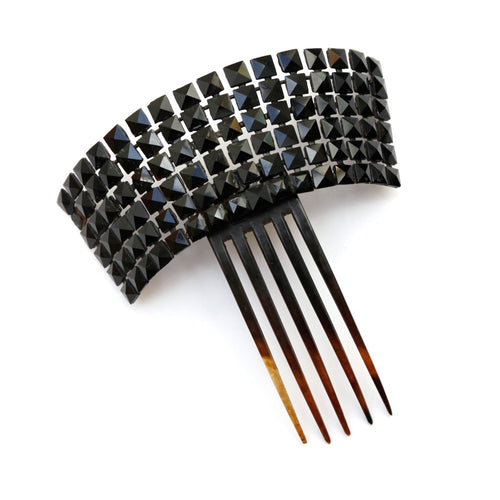 Victorian Crown Hair Comb with French Jet Square Stones
