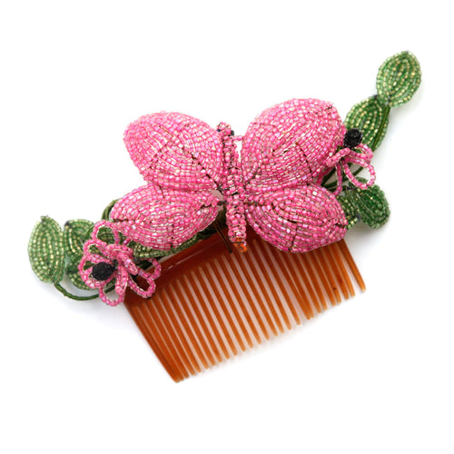 Hair Comb with Beaded Butterfly and Flowers