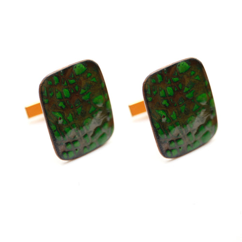 1950s Copper Cufflinks with Green Enamel
