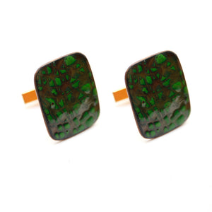 Copper Cufflinks with Green Enamel