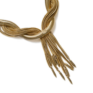 Hobe Gold Twisted Fringe Necklace