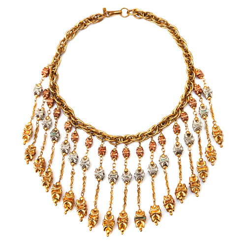 Monet Copper, Silver and Gold Tone Necklace