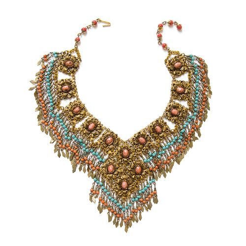 1940-50 Coral and Turquoise Beaded Fringe Necklace