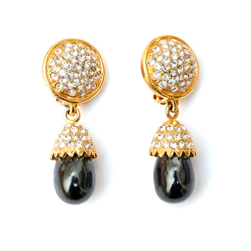 Carolina Herrera Grey Pearl Earrings