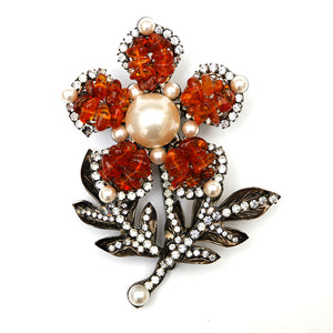 VRBA Amber and Pearl Flower Brooch