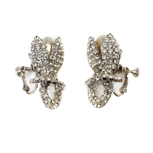 Vendome Pearl and Diamante Flower Earrings