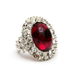 Donald Stannard Red and Diamanté Cocktail Ring